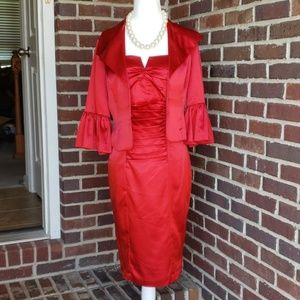 🔥 SALE 🔥 Red Formal Sheath Dress & Jacket Sz 4P